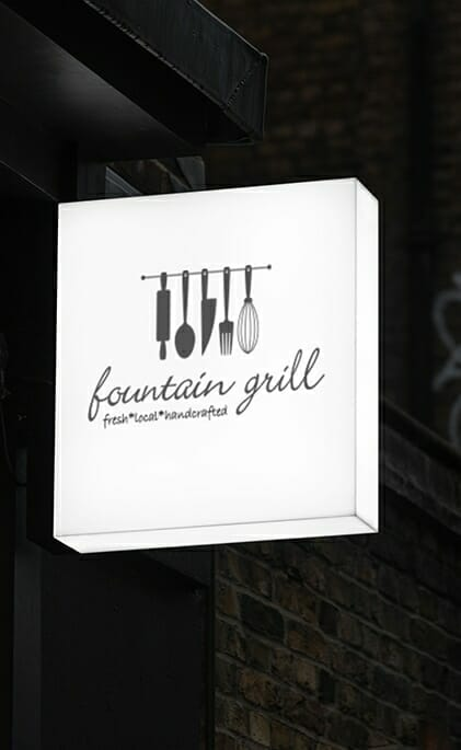 Fountain grill outdoors sign